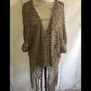 Sweaters - Crochet Fringe Cardigan